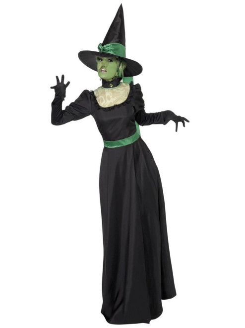 """49"""" Green and Black Women Adult Witch Halloween Costume - Large - IMAGE 1"""