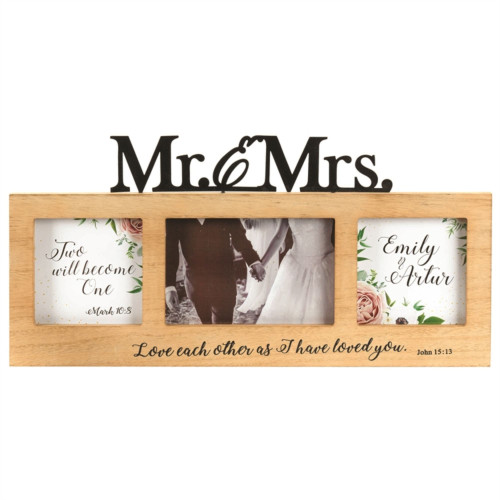 """12.5"""" Beige and Black Religious Themed Matrimonial Rectangular Wall Plaque - IMAGE 1"""