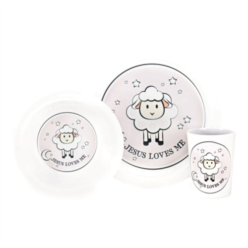 """Club Pack of 14 Pale Pink and White """"JESUS LOVES ME"""" Printed Dish Set - IMAGE 1"""