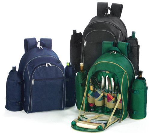 On-The-Go Backpack Picnic Set for 4 with Dual Detachable Wine Carriers - NAVY - IMAGE 1
