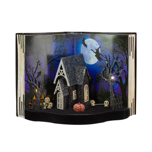 "11.5"" Battery Operated Haunted House Open Book With LED Lighting - IMAGE 1"