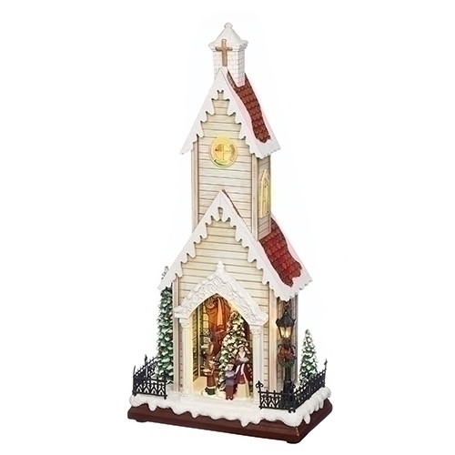 """19"""" LED Musical Rotating Christmas Tree Church Battery Operated Figurine - IMAGE 1"""