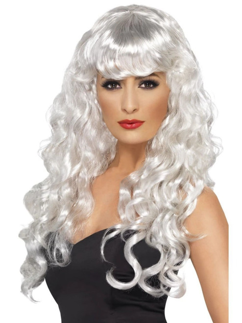 "26"" White Flirty Fringe Curly Long Women Adult Halloween Siren Wig Costume Accessory - One Size - IMAGE 1"