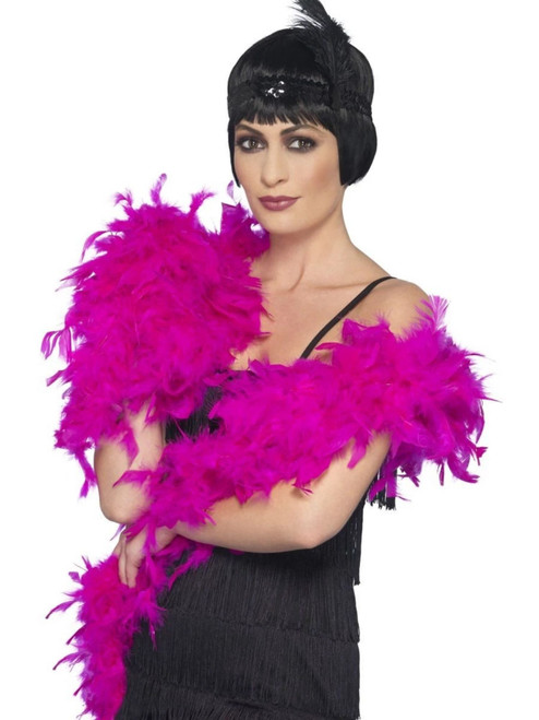 """26"""" Fuchsia Pink 1920's Style Fluffy Feather Adult Women Halloween Boa Costume Accessory - IMAGE 1"""
