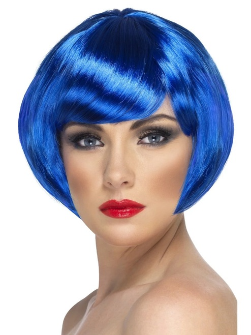"""26"""" Blue Babe Short Bob with Fringe Women Adult Halloween Babe Wig Costume Accessory - One Size - IMAGE 1"""