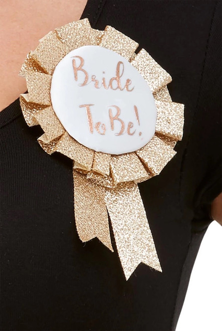 "19"" Rose Gold and White Bride To Be Halloween Rosette Hen and Stag Party Costume Accessory - IMAGE 1"