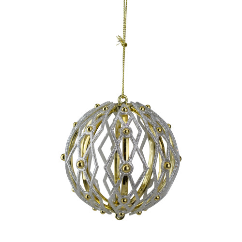 "Shiny and Glitter Gold Shatterproof Christmas Ball Ornament 5"" (125mm) - IMAGE 1"