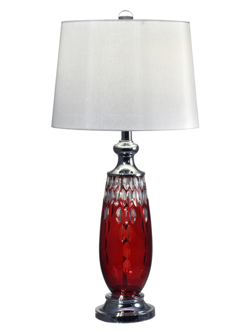 """30"""" Red Lead Hand Cut Crystal Lamp - IMAGE 1"""