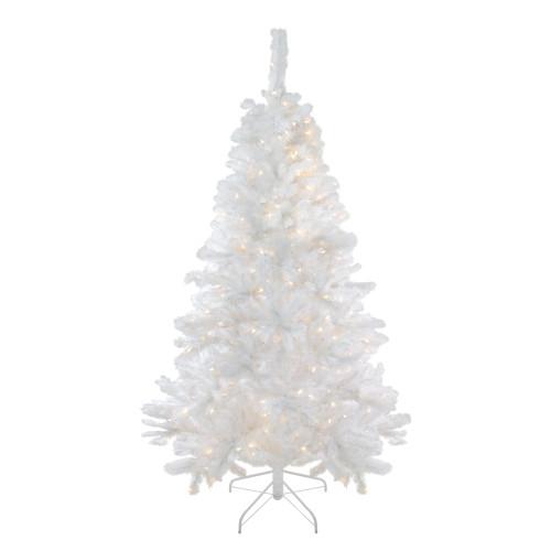 6.5' Pre-Lit White Medium Iridescent Pine Artificial Christmas Tree - Multi Function LED Lights - IMAGE 1