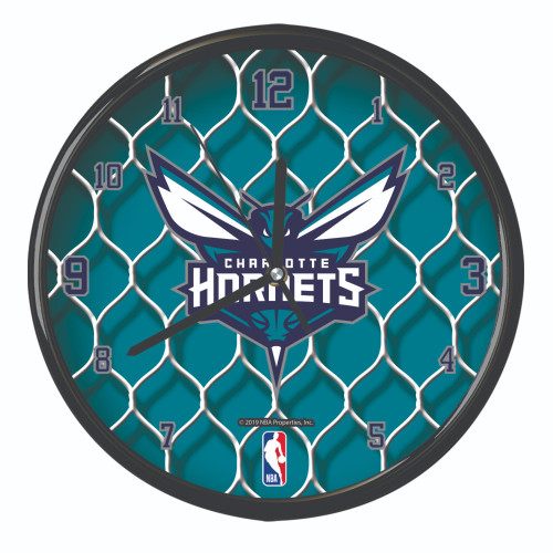"11.5"" Teal Green and White NBA Charlotte Hornets Net Wall Clock - IMAGE 1"
