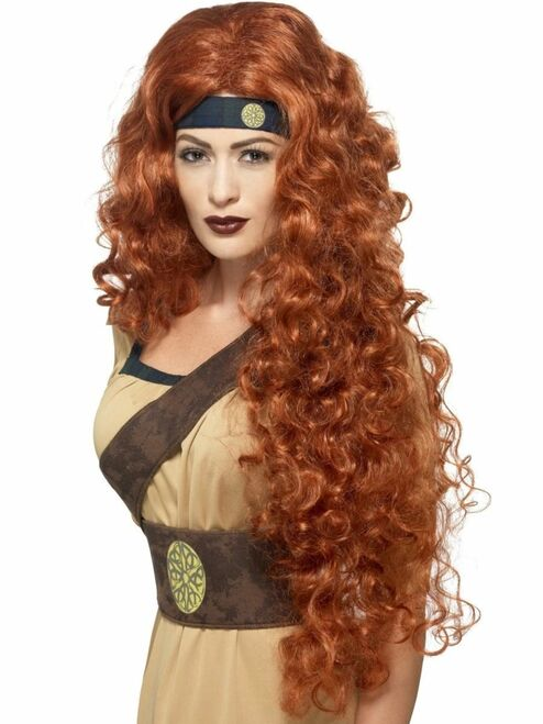 """26"""" Auburn Brown Historical Medieval Warrior Queen Women Adult Halloween Wig Costume Accessory - One Size - IMAGE 1"""