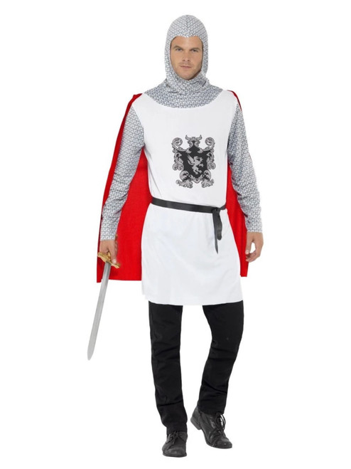 """49"""" White and Red Knight Men Adult Halloween Costume - Medium - IMAGE 1"""
