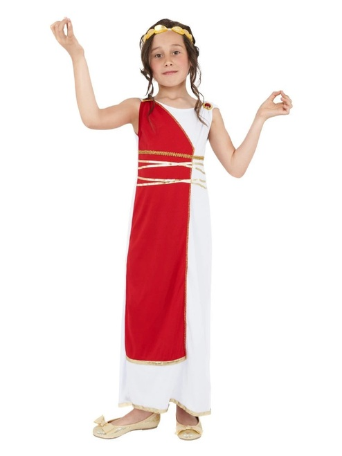 "49"" Red and White Grecian Girl Child Halloween Costume - Large - IMAGE 1"