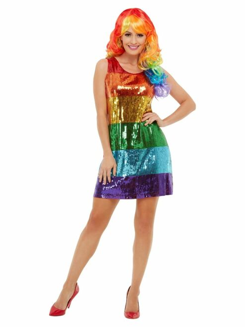 Green and Blue All That Glitters Rainbow Women Adult Halloween Costume - Medium - IMAGE 1