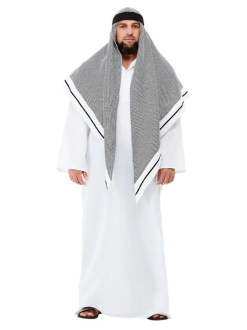 White and Gray Fake Sheikh Men Adult Halloween Costume - Medium - IMAGE 1
