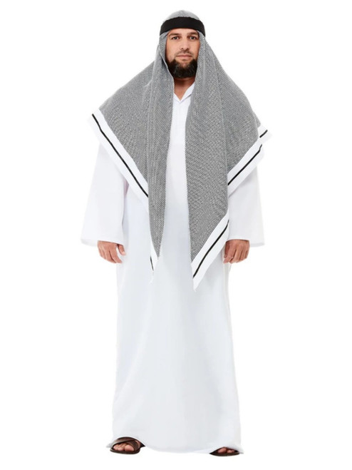 White and Gray Fake Sheikh Men Adult Halloween Costume - Large - IMAGE 1