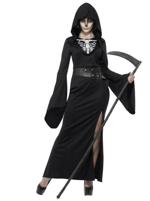 "49"" Black and White Lady Reaper Women Adult Halloween Costume - Small - IMAGE 1"