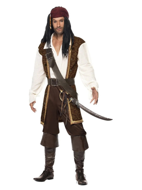 """40"""" White and Brown High Seas Pirate Men Adult Halloween Costume - Large - IMAGE 1"""