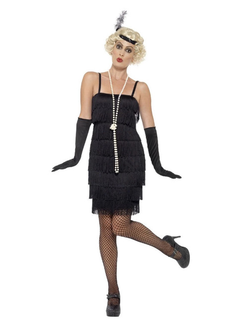 """44"""" Black and White 1920's Style Flapper Women Adult Halloween Costume - X1 - IMAGE 1"""