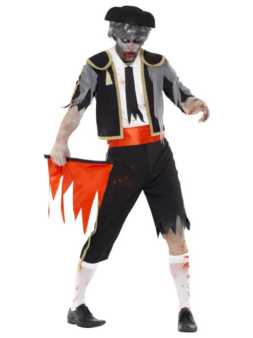 """48"""" Black and Red Zombie Matador Men Adult Halloween Costume - Large - IMAGE 1"""