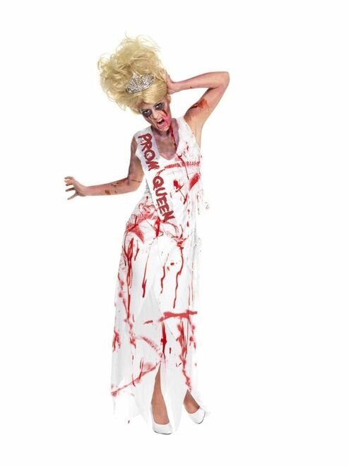 """49"""" White and Red Prom Queen Zombie Women Adult Halloween Costume - Small - IMAGE 1"""
