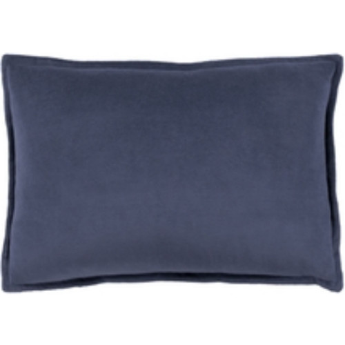 "19"" Navy Blue Flange Solid Rectangular Throw Pillow Cover - IMAGE 1"