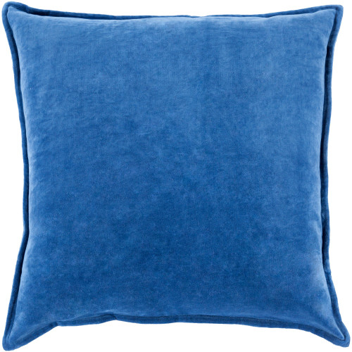"20"" Dark Blue Flange Edged Solid Square Throw Pillow Cover - IMAGE 1"