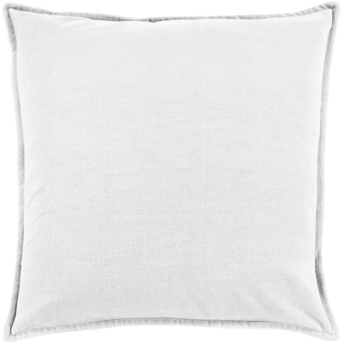 """22"""" White Flange Edged Solid Square Throw Pillow Cover - IMAGE 1"""