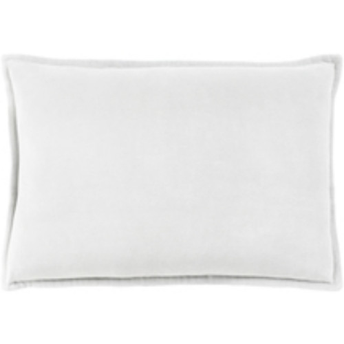 """19"""" White and Gray Flange Solid Rectangular Throw Pillow Cover - IMAGE 1"""
