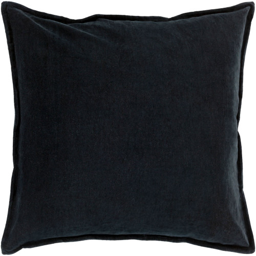 """22"""" Black Flange Edged Solid Square Throw Pillow Cover - IMAGE 1"""