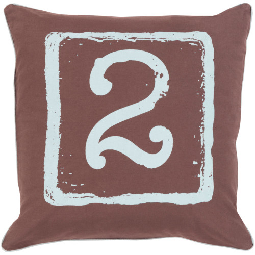 """18"""" Brown and White """"2"""" Printed Square Throw Pillow Cover - IMAGE 1"""