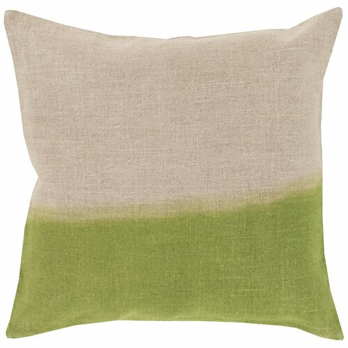 """22"""" Gray and Green Contemporary Square Throw Pillow Cover - IMAGE 1"""