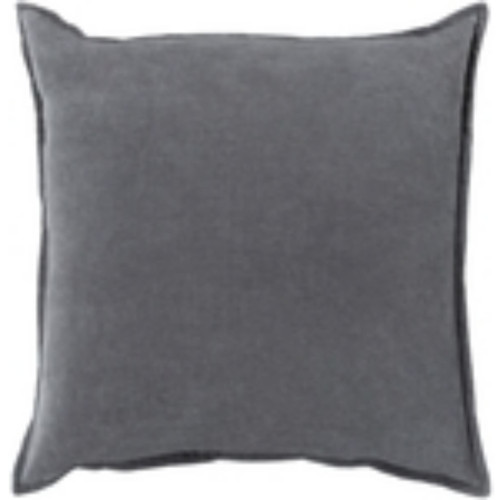 "22"" Charcoal Gray Flange Solid Square Throw Pillow Cover - IMAGE 1"