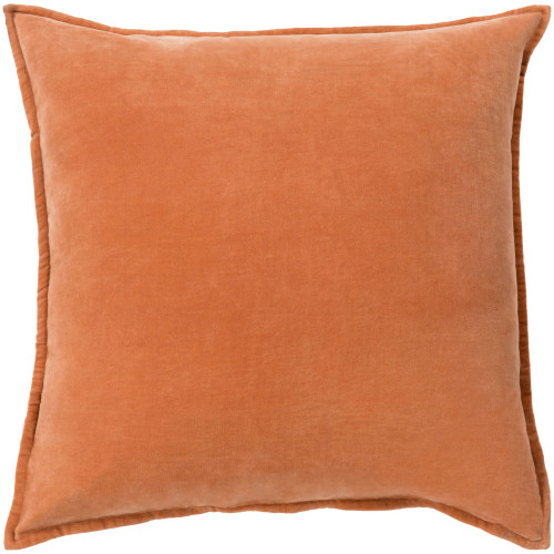 """18"""" Orange Flange Edged Solid Square Throw Pillow Cover - IMAGE 1"""