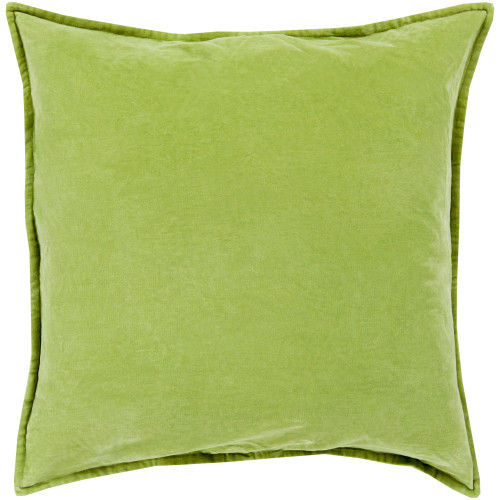 """20"""" Green Flange Edged Solid Square Throw Pillow Cover - IMAGE 1"""