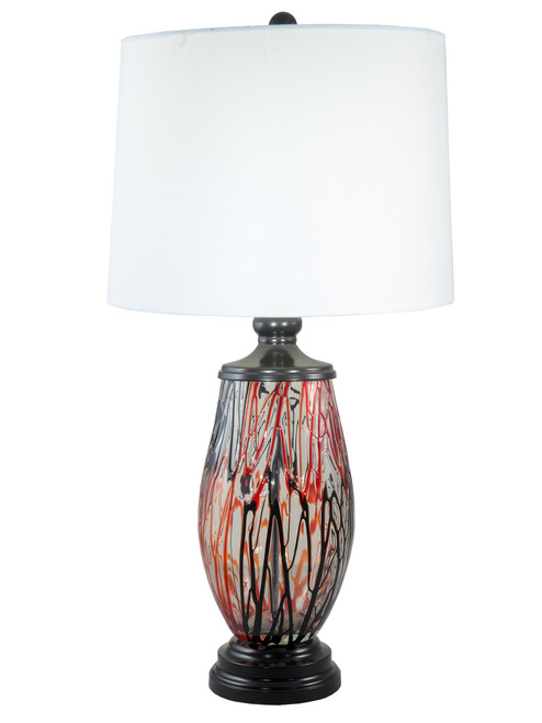 """31.5"""" Halen Red Painted Glass table Top Lamp - IMAGE 1"""