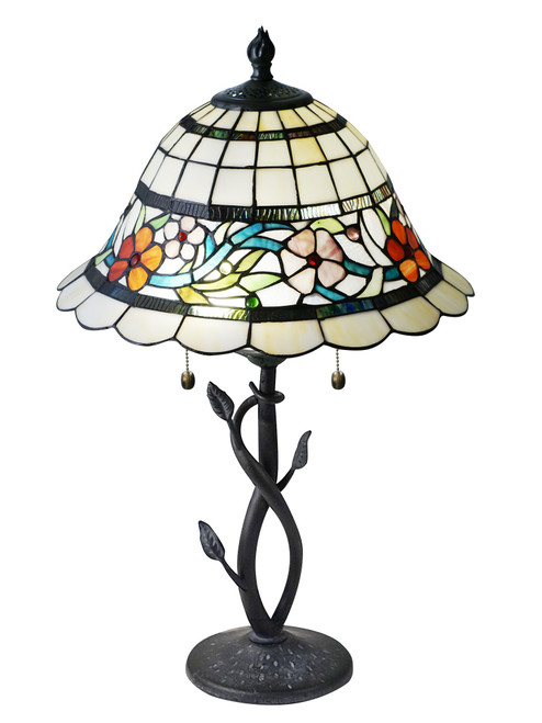 """26"""" Floral Tiffany Hand Rolled Glass table Lamp - IMAGE 1"""