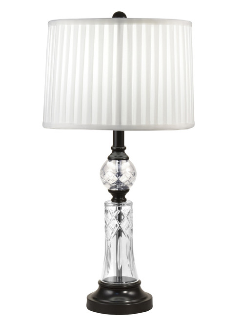 """26"""" White Lead Crystal Table Top Lamp - IMAGE 1"""