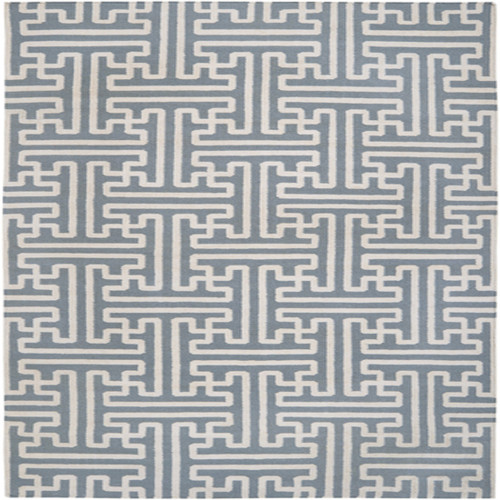 1.5' x 1.5' Denim Blue and Beige Square Hand Woven Wool Area Throw Rug Corner Sample - IMAGE 1