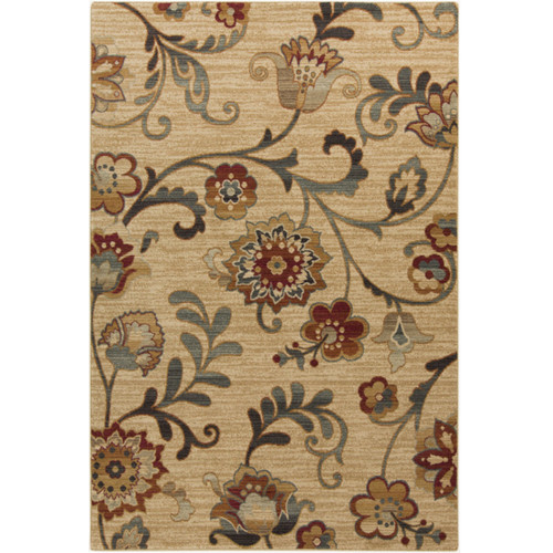 1.5' x 1.5' Beige and Green Square Throw Rug Corner Sample - IMAGE 1
