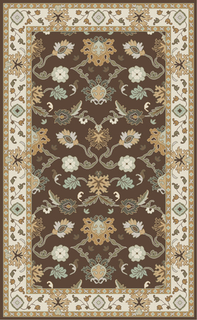 1.5' x 1.5' Traditional Brown and Beige Hand-Tufted Rectangular Wool Area Throw Rug Corner Sample - IMAGE 1