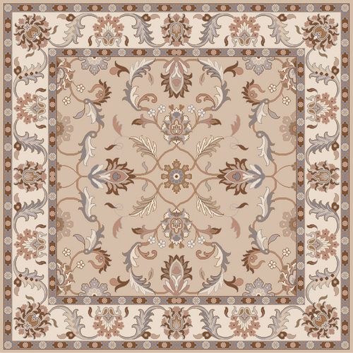 1.5' x 1.5' Traditional Beige and Gray Hand-Tufted Rectangular Wool Area Throw Rug Corner Sample - IMAGE 1