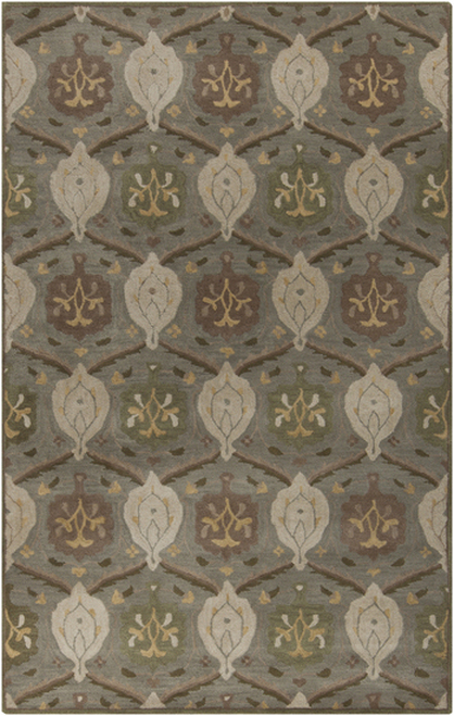 1.5' x 1.5' Gray and Olive Green Floral Hand Tufted Wool Area Throw Rug - IMAGE 1