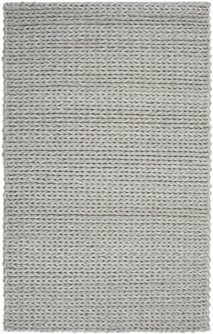 "6"" x 6"" Light Gray Hand Woven Square Wool Area Throw Rug Corner Sample - IMAGE 1"