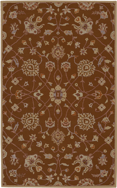 1.5' x 1.5' Valeria Brown and Beige Hand Tufted Square Wool Area Rug Corner Sample - IMAGE 1