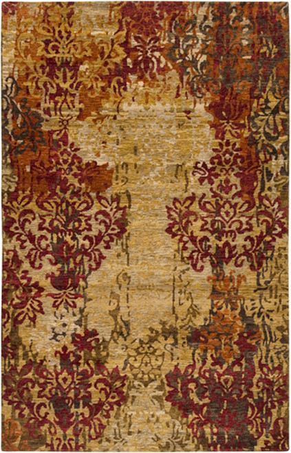 1.5' x 1.5' Beige and Red Hand Knotted Square New Zealand Wool Area Throw Rug Corner Sample - IMAGE 1