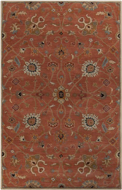 1.5' x 1.5' Red and White Hand Tufted Square Wool Area Throw Rug Corner Sample - IMAGE 1