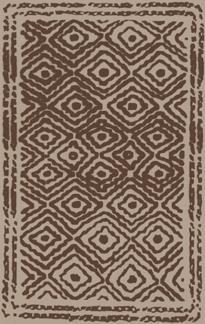 1.5' x 1.5' Taupe Brown and Beige Hand Knotted Square Wool Area Throw Rug Corner Sample - IMAGE 1