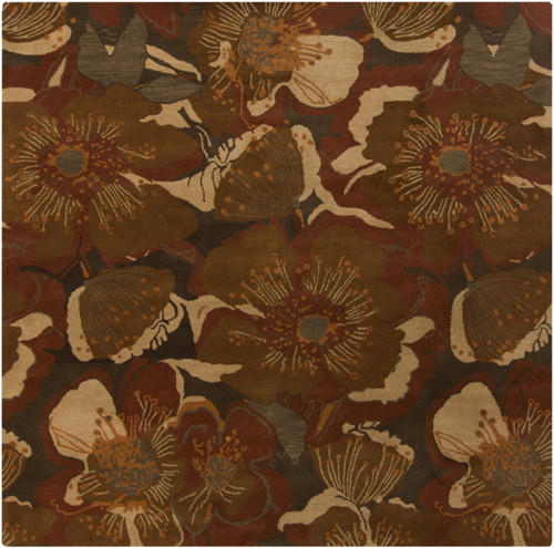 1.5' x 1.5' Brown and Gold Square Wool Area Throw Rug - IMAGE 1