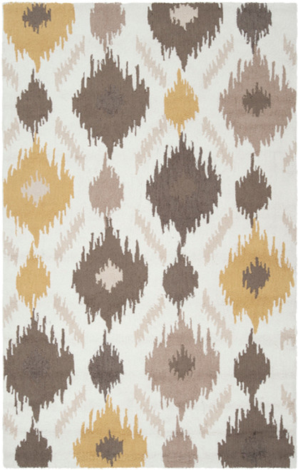 1.5' x 1.5' Brown and Gray Hand Hooked Square Area Throw Rug Corner Sample - IMAGE 1
